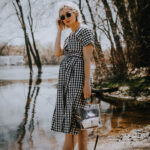 gingham wrap dress with brown sandals