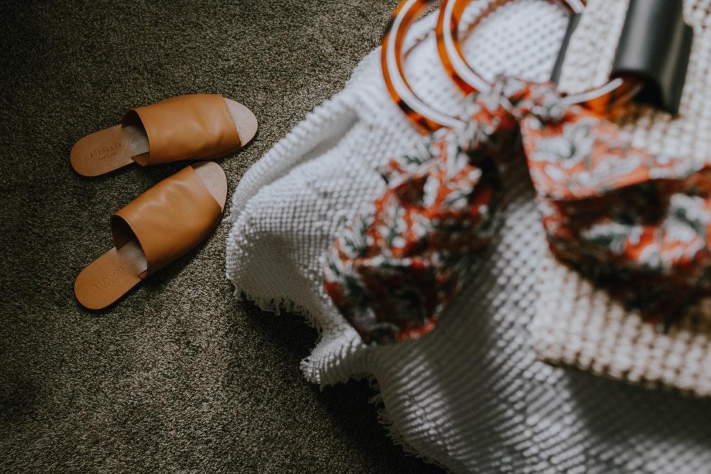 Everlane Sandal Comparison: Brown slide sandals in a nice cognac color