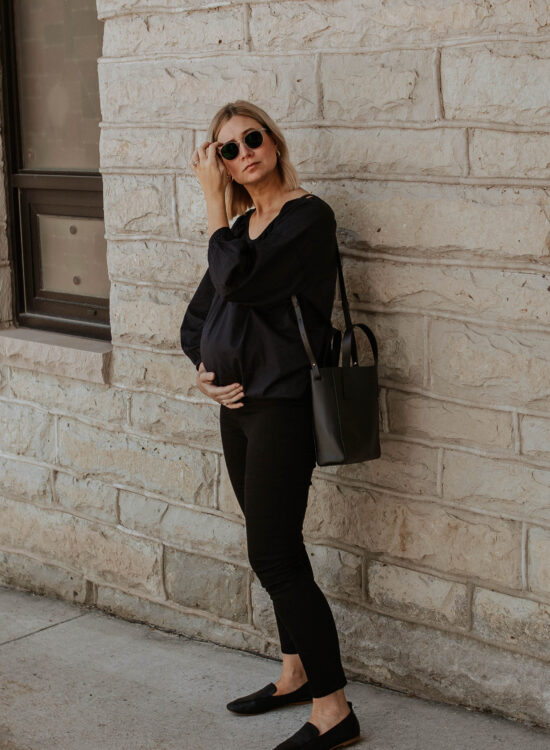 An all black outfit, outfits that transition to fall, maternity style, black loafers, everlane review, everlane day loafer, everlane day tote mini, everlane air ruched blouse, new in at everlane, all black summer outfit