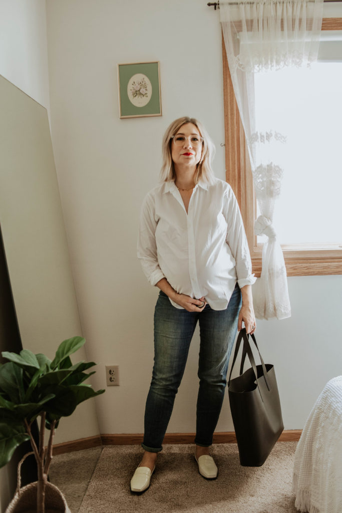 new shoes from everlane, everlane relaxed silky cotton button down, maternity jeans, everlane day tote, everlane 90's loafer