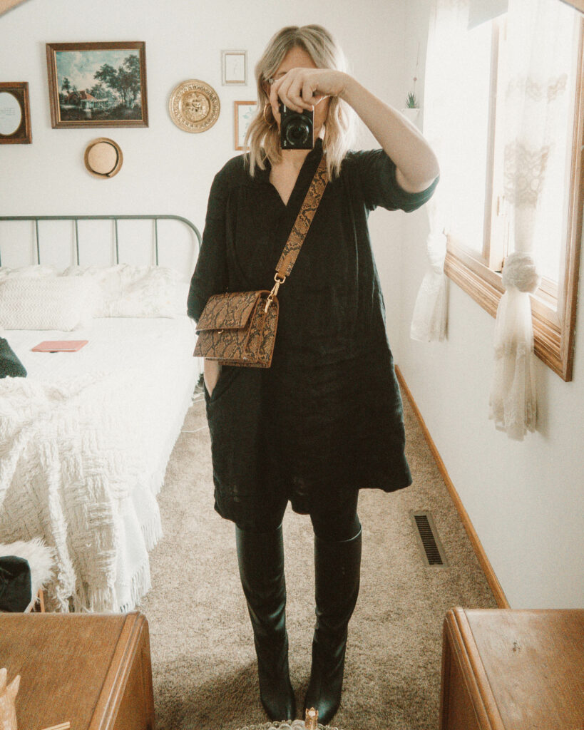 Weekend Outfit Roundup Vol. 1, Snake Print Bag, Sugar Candy Mountain Black Linen Dress, Everlane Knee High Boots