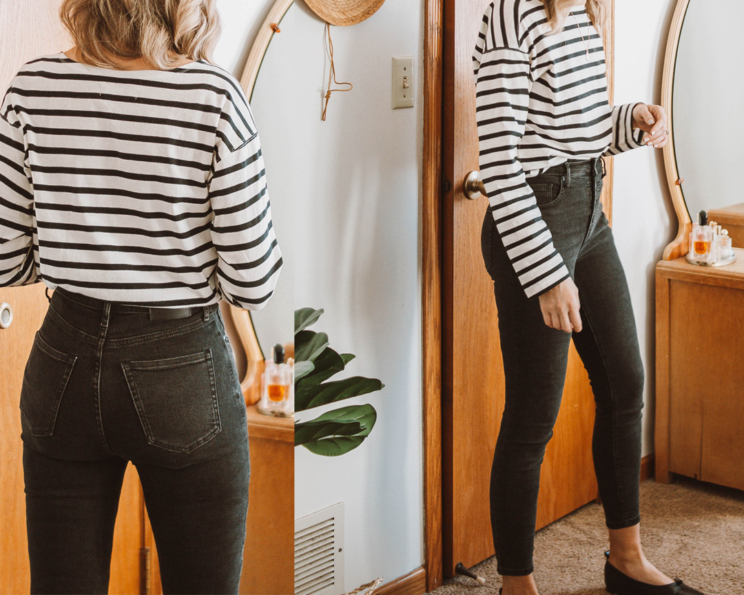 A review of the Everlane Authentic Stretch High Rise Skinny Button Fly Jean + EVERY other style of jean on the Everlane website! everlane denim, everlane 90s cheeky jean review, everlane denim guide