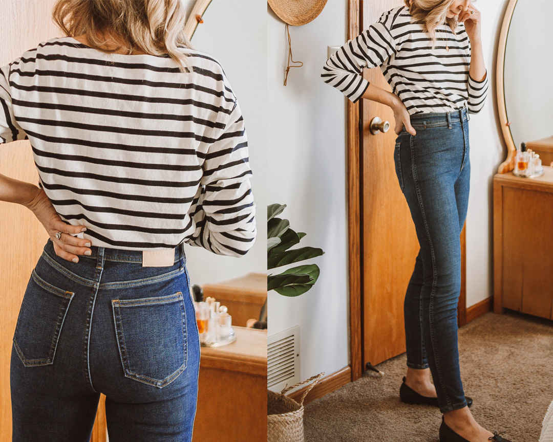 A review of the Everlane Authentic Stretch High Rise Skinny Button Fly Jean + EVERY other style of jean on the Everlane website! everlane denim, everlane way high skinny jean review, everlane denim guide