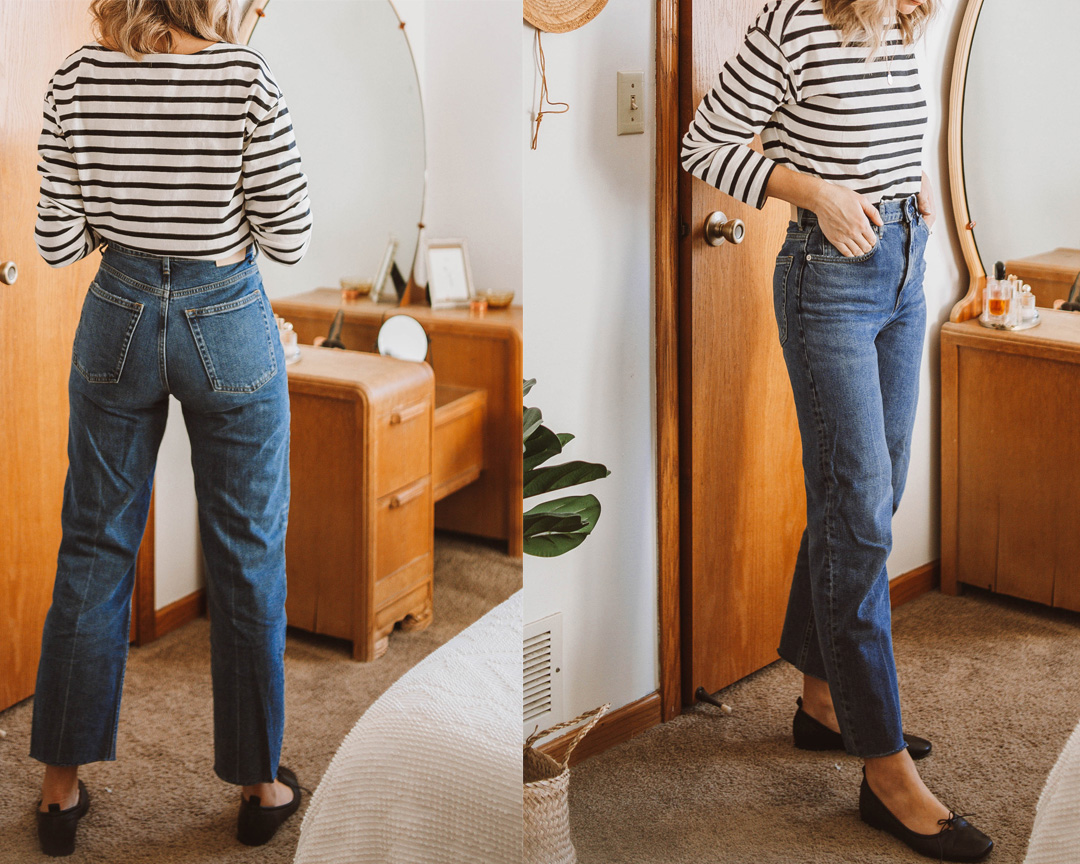 A review of the Everlane Authentic Stretch High Rise Skinny Button Fly Jean + EVERY other style of jean on the Everlane website! everlane denim, everlane way high jean review, everlane denim guide