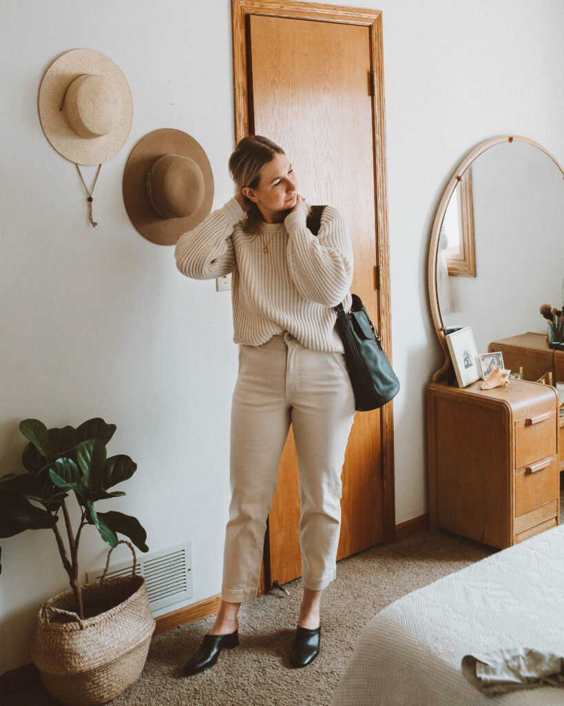 So here's what I actually wore this week, j. crew cotton sweater, everlane wide leg crop pant, everlane day mule review, fount bag