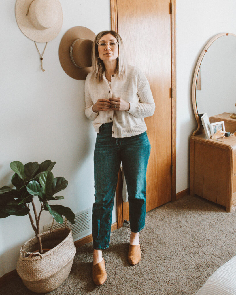 Easy Spring Outfits for Working at Home, madewell deville cardigan sweater, vintage levi 501, nisolo mules,