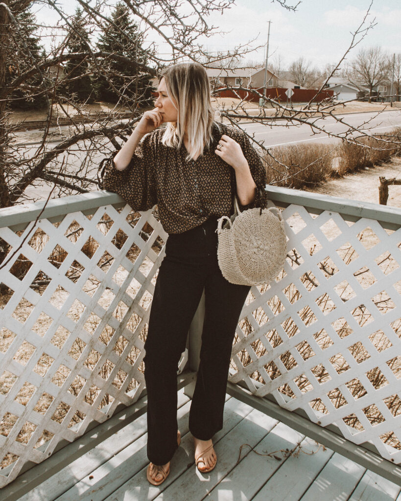 Easy Spring Outfits for Working at Home, doen rose blouse, everlane modern flare denim, circle straw bag, strappy nude sandals
