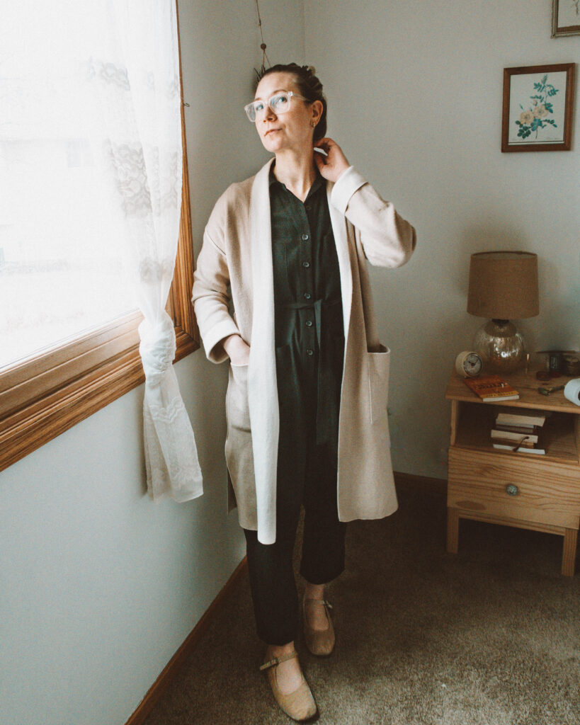 Easy Spring Outfits for Working at Home Tradlands Finn Jumpsuit Michael Stars Sweater Coat Mary Jane Flats