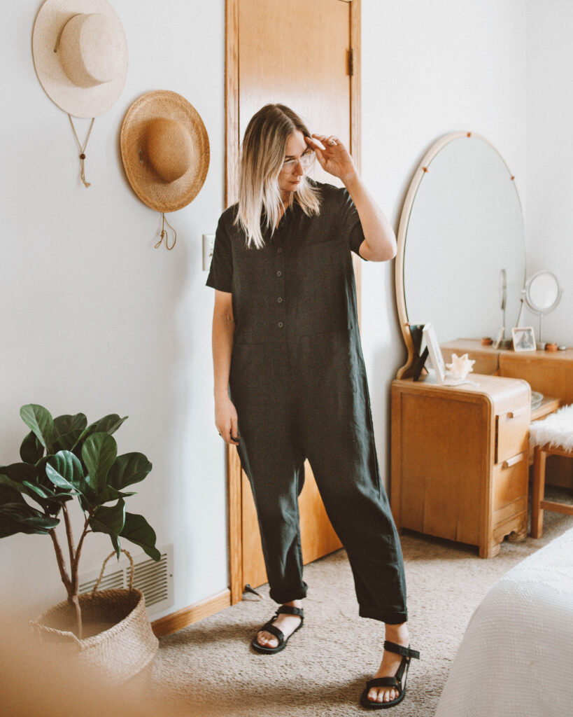 5 Days Wearing New Spring Arrivals from Tradlands, finn jumpsuit, black teva sandals