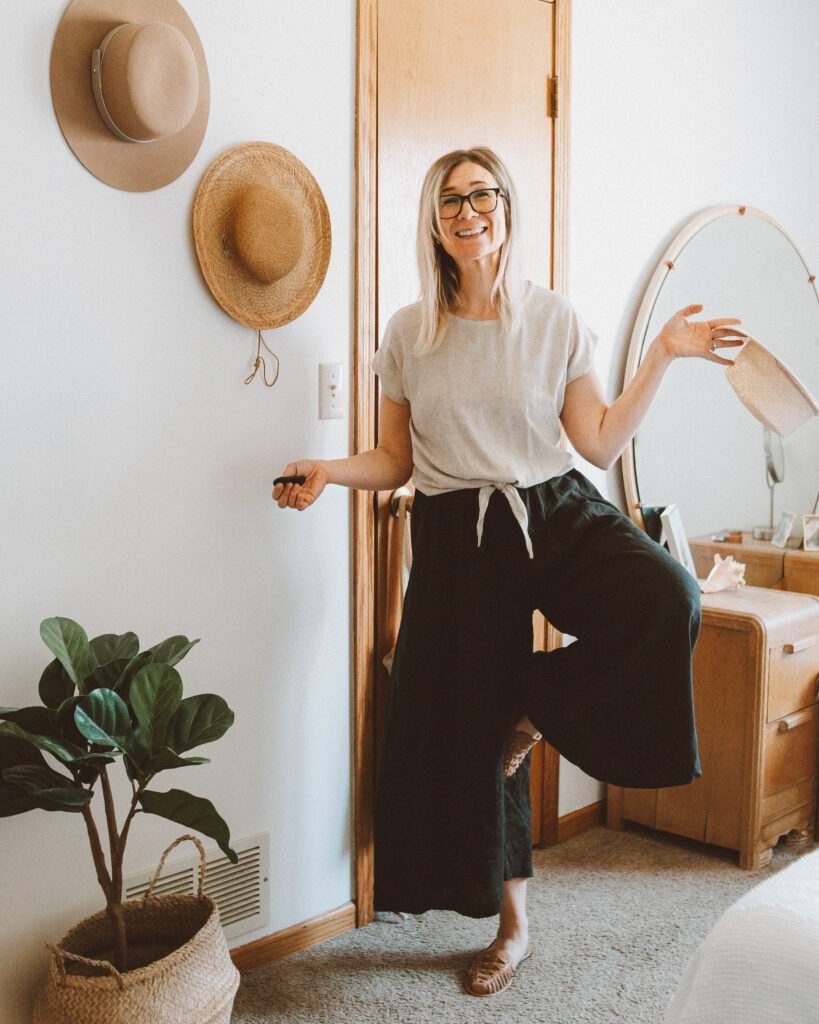 Linen Loungewear: 5 Outfit Ideas, linen culottes, nisolo huarache sandals, lack of color boater hat, only child luzon top