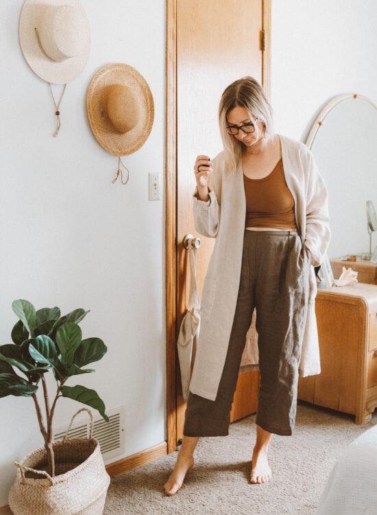 Linen Loungewear: 5 Outfit Ideas, arq tank top, linen pants, linen duster