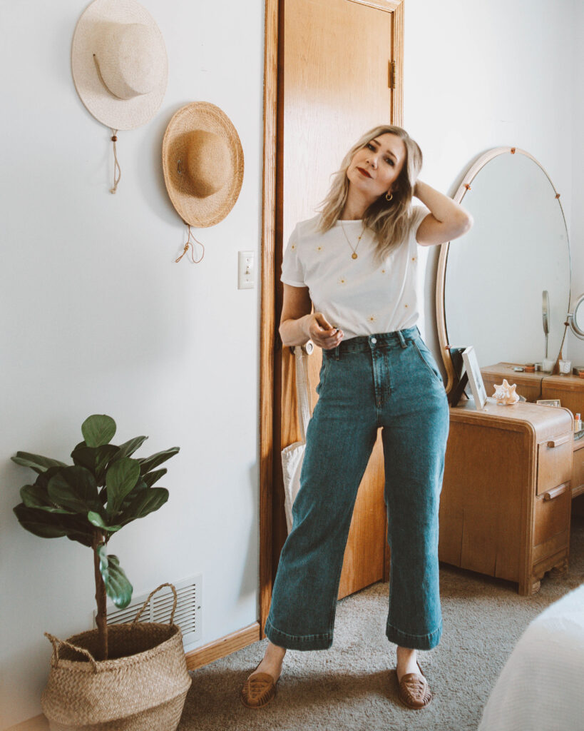 Styling a Basic Tee: 10 Different Outfit Ideas, linen duster, sezane embroidered tee