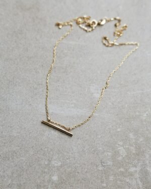 Red Cherry Blvd Gold Bar Necklace