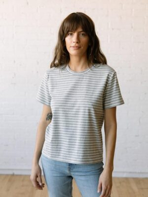 Tradlands 102 Box T-Shirt in Gray Stripe