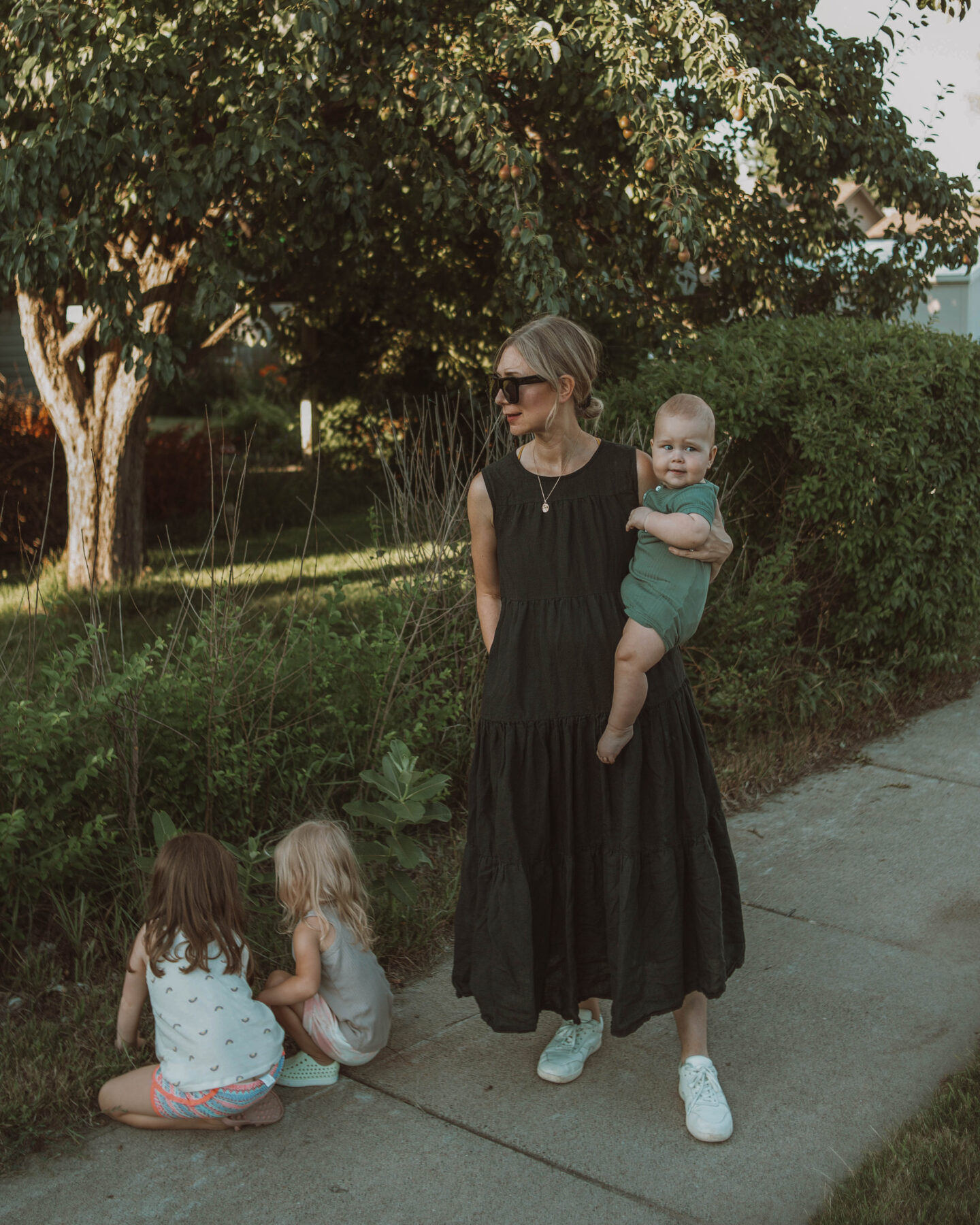 What I Wore this Week, black tiered dress, everlane tread sandals, tribe alive dress