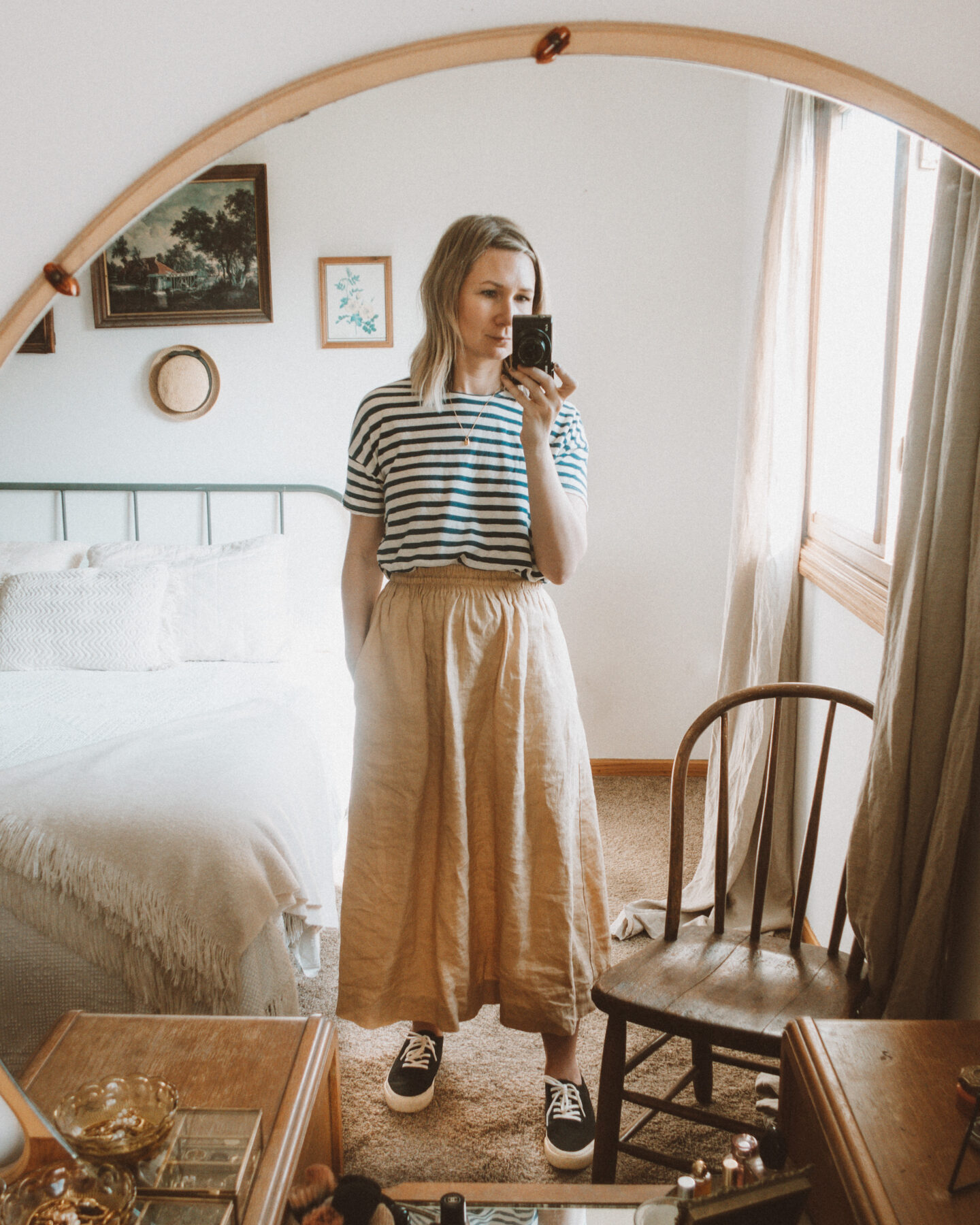 neutral outfits, what I wore this week, blue and white striped tee, not perfect linen skirt, everlane forever sneaker