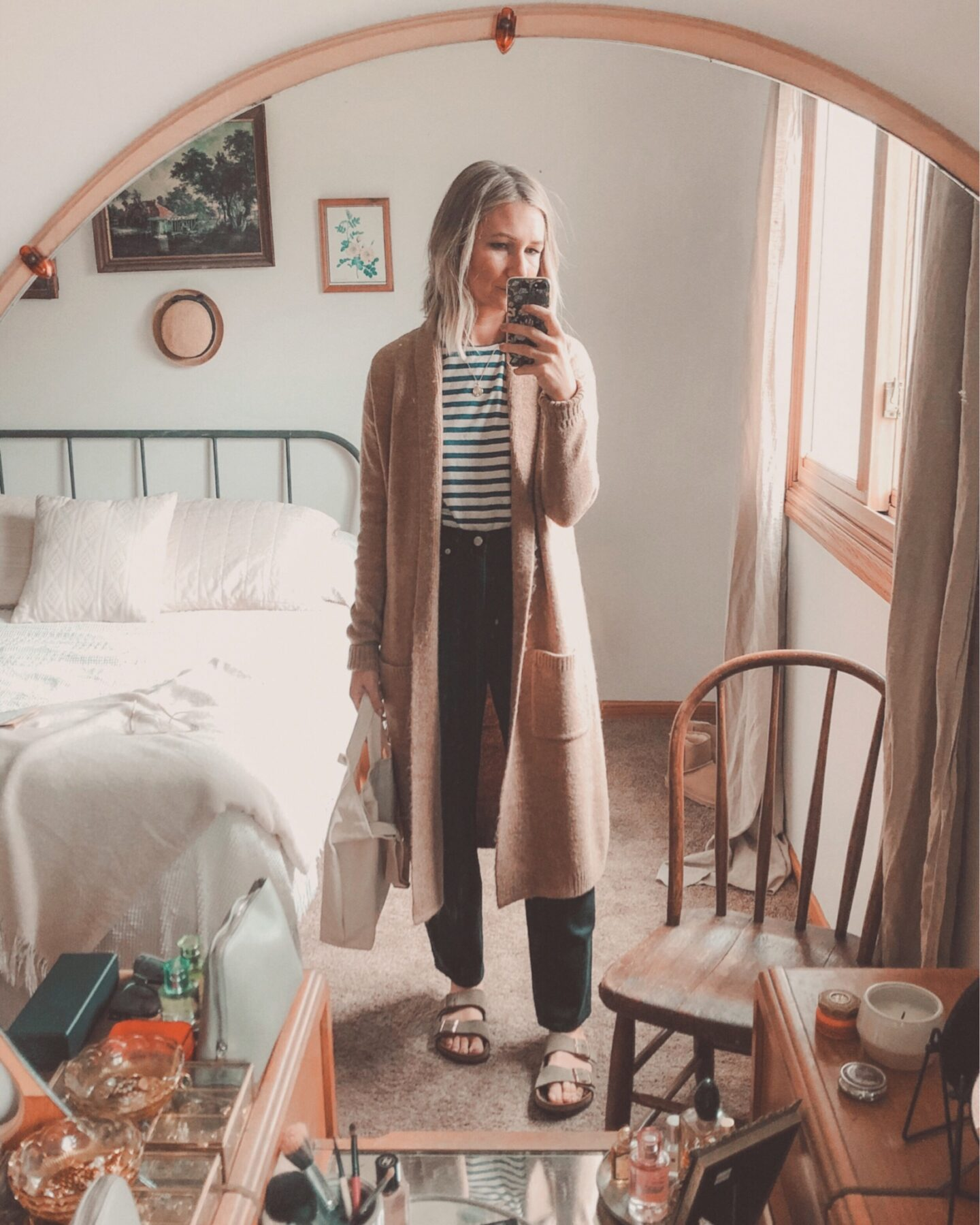 Fall Transitional Dressing: What I Wore Last Week, Cardigan outfit with black jeans and birkenstock arizona sandals