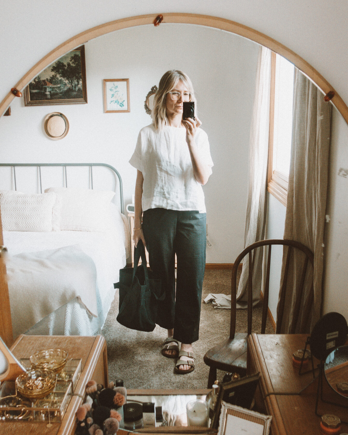 neutral outfits, what i wore this week, linen outfit