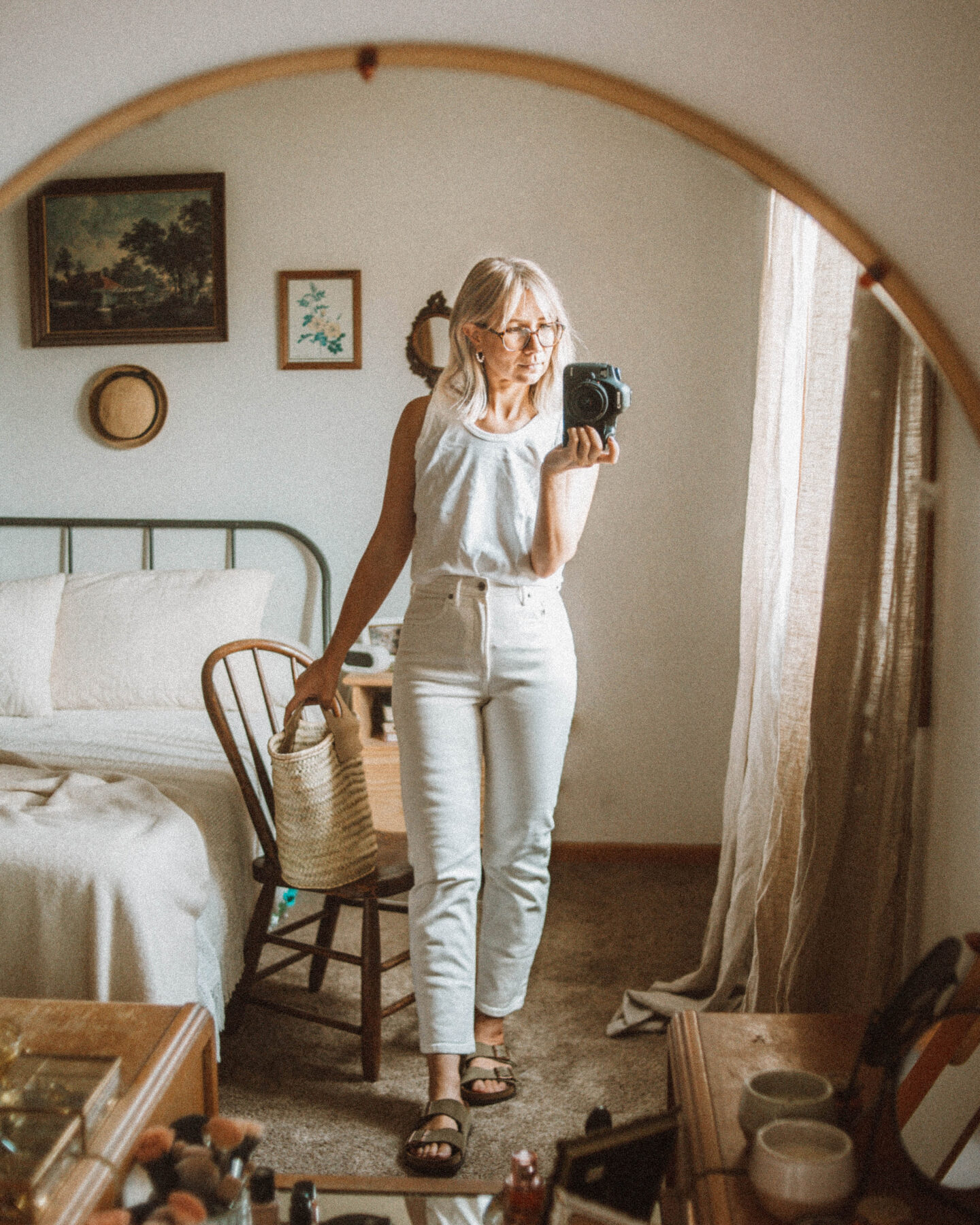 Outfits from the Past Week, all white outfit, birkenstock arizona
