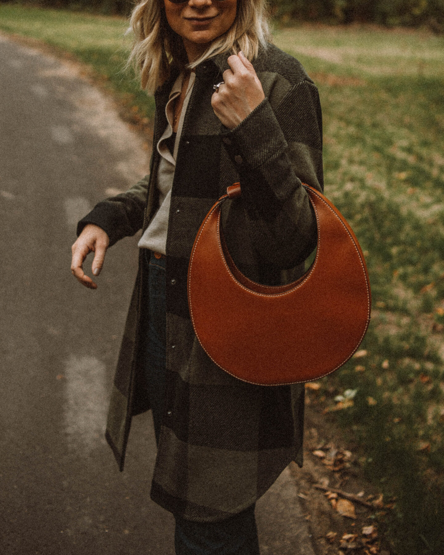 Fall Uniform: 3 Versions of My Go To Formula, buffalo check chore coat, staud moon bag, brown Madewell chelsea boots