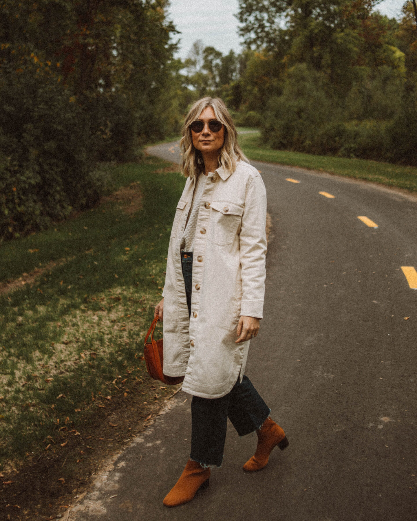 Fall Uniform: 3 Versions of My Go To Formula, long madewell chore coat, everlane reknew sock boots