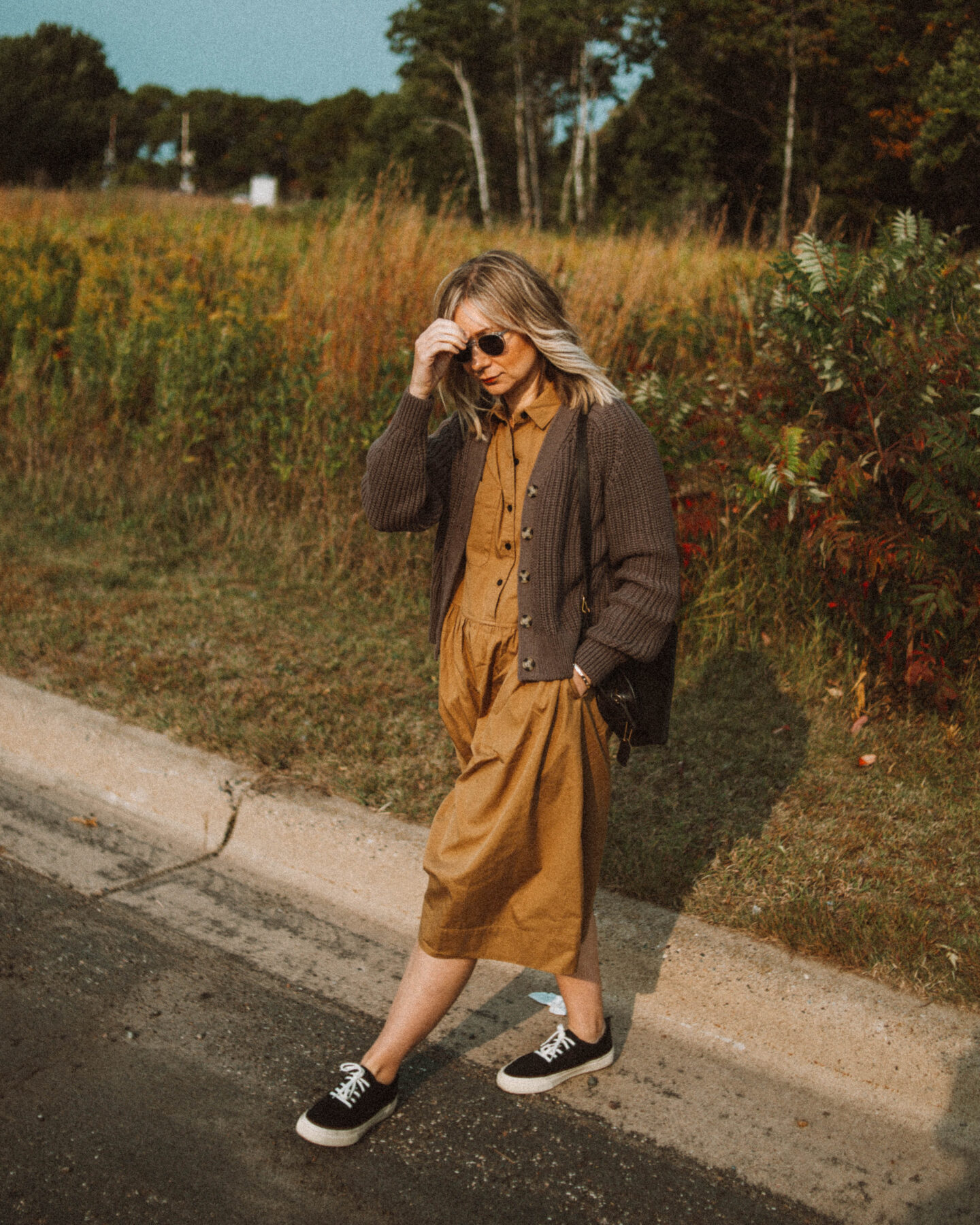 New in at Everlane: What I'm Loving for Fall, parklet shirtdress, texture cotton cardigan, forever sneaker