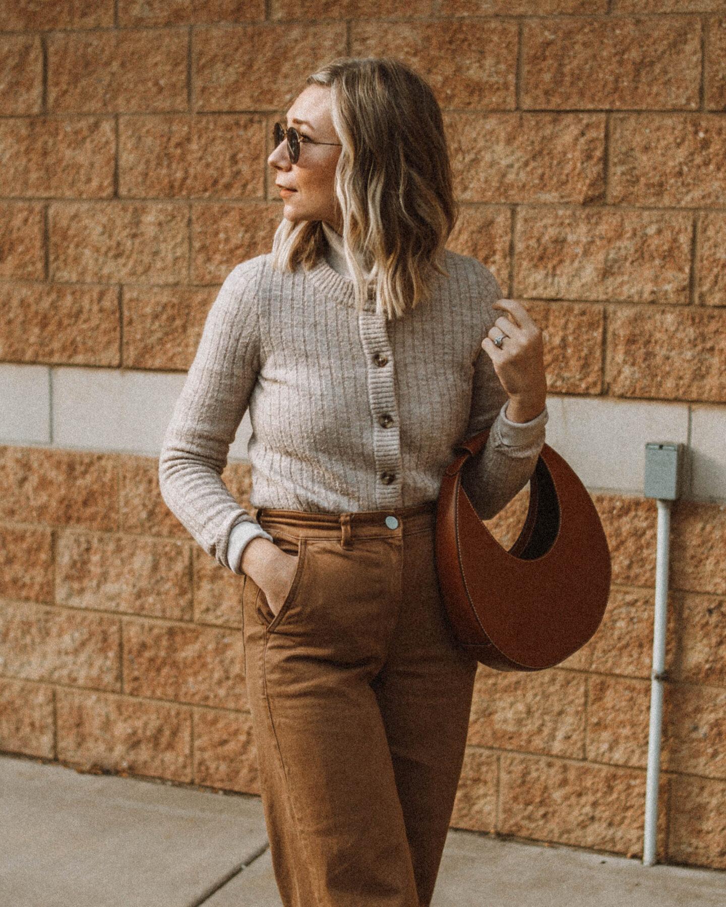 3 Ways to style Wide Leg Pants, Everlane Wide Leg Crop Pant, Staud Moon Bag