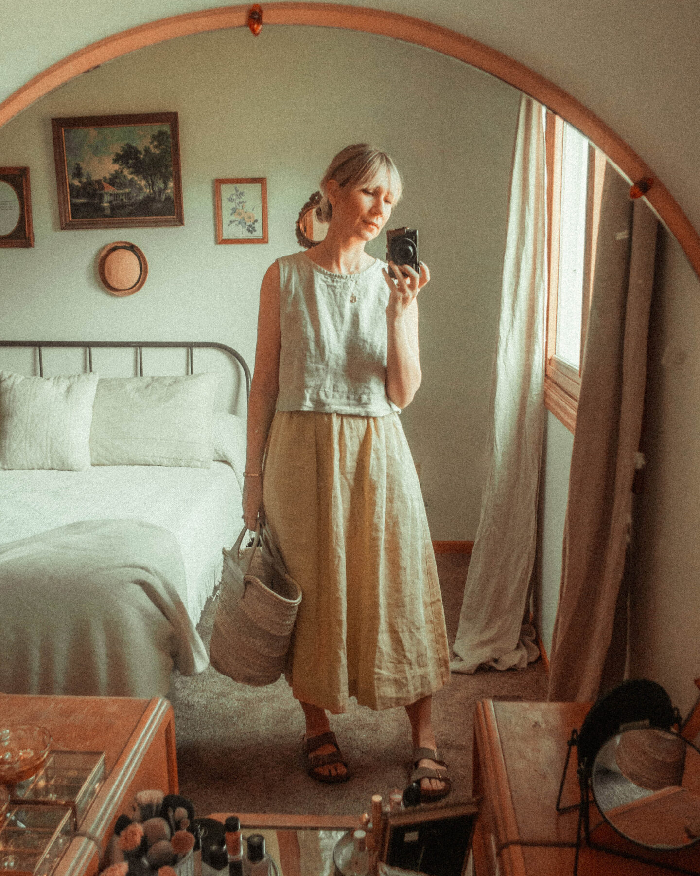 What I Wore this Week: From Tank Tops to Trench Coats, not perfect linen, birkenstock arizona outfit, hereu straw bag
