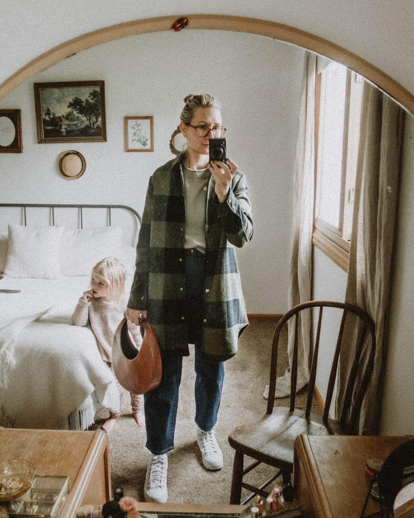 What I Wore this Week: From Tank Tops to Trench Coats, buffalo check chore coat shirt jacket, sage green sweater, everlane barrel leg jean, converse lugged high top white, staud moon bag