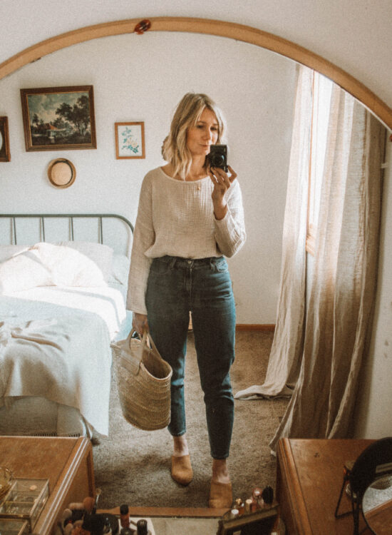 What I Wore this Week: From Tank Tops to Trench Coats, it is well gauze top, gap mom jeans (the BEST mom jeans), nisolo mariella mules, hereu basket bag