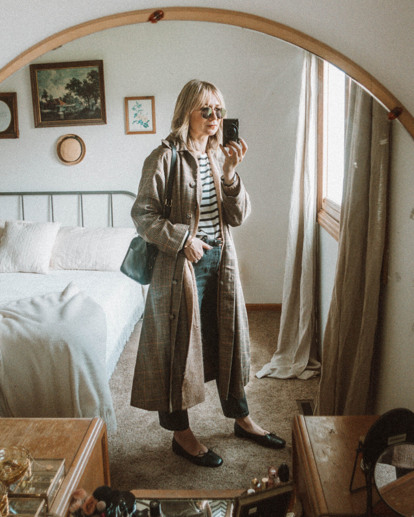 What I Wore this Week: From Tank Tops to Trench Coats, toteme trench coat, plaid trench coat, everlane 90's cheeky jean, everlane breton stripe top, camel colored duster cardigan, black ballet flats