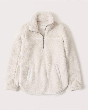 Abercrombie & Fitch Sherpa Half Zip Sweatshirt
