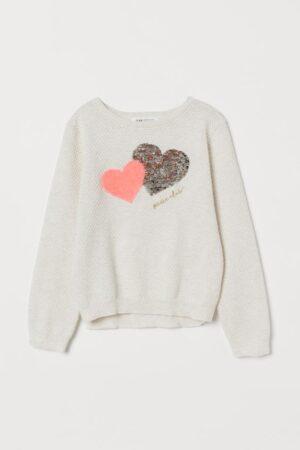 H&M Sequin Heart Sweater