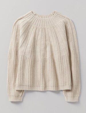 Toast Ribbed Yoke Easy Sweater
