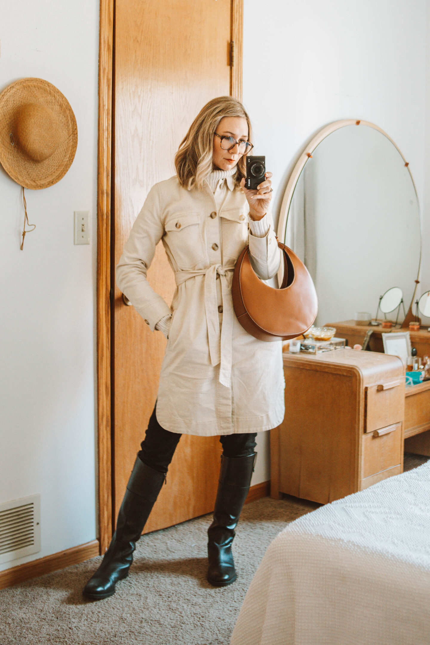 Week of Outfits + 3 Ways to Wear Knee High Boots, Black Riding Boot, Madewell Chore Coat