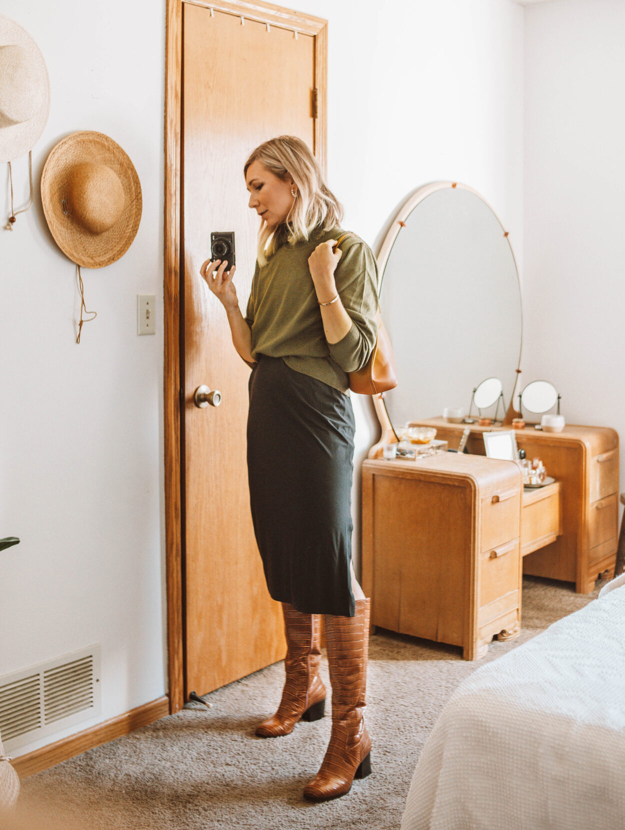 Week of Outfits + 3 Ways to Wear Knee High Boots, Sweater over Slip Dress
