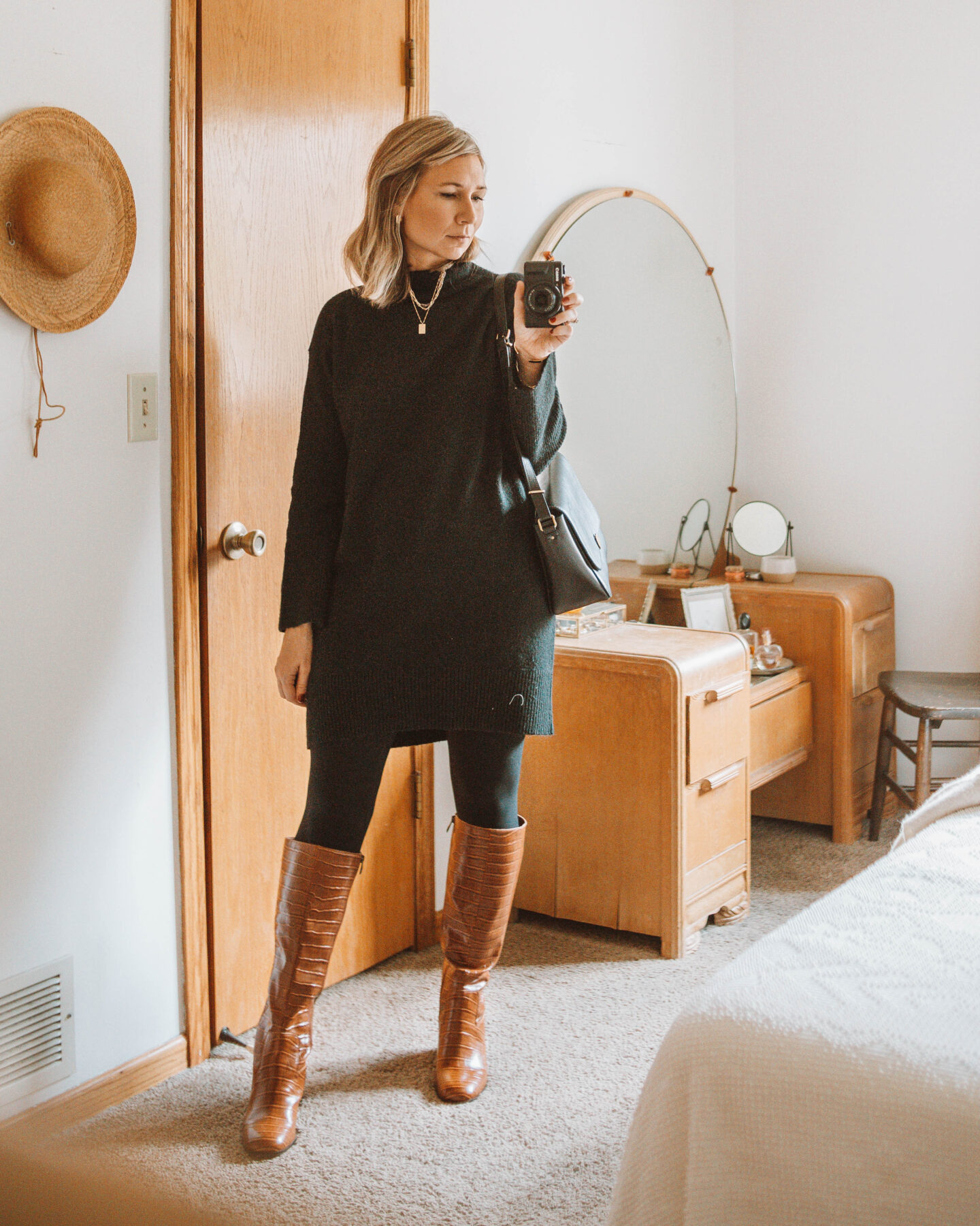 Week of Outfits + 3 Ways to Wear Knee High Boots, Black Sweater Dress