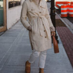 madewell chore coat, white jeans, brown loafers, staud moon bag