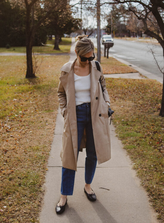 A Simple Outfit, classic trench coat, toteme mid wash jeans, black ballet flats, white scoopneck sweater, Black Friday Suggestions