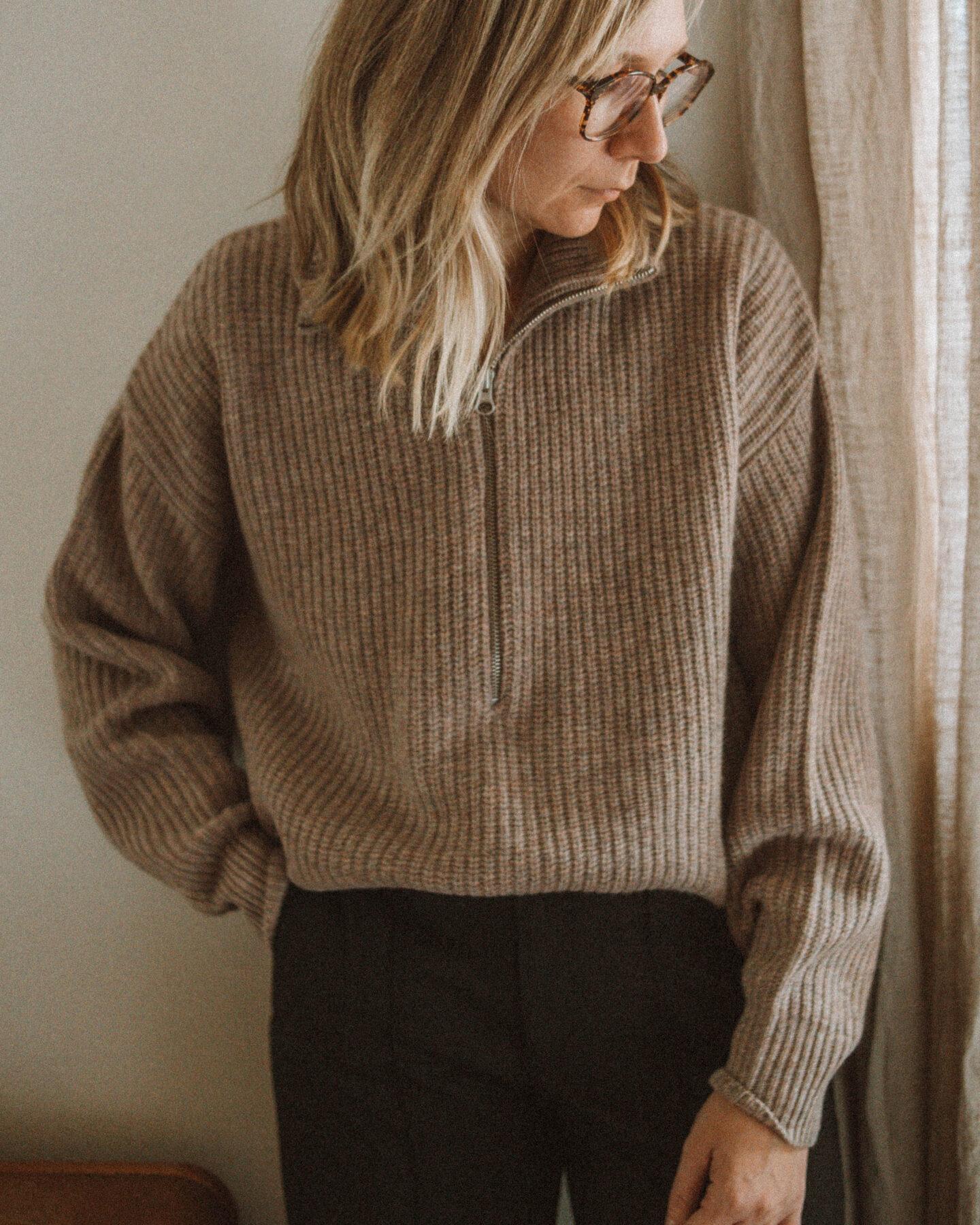 Half zip sweater, everlane felted merino half zip sweater, black full length wide leg pants