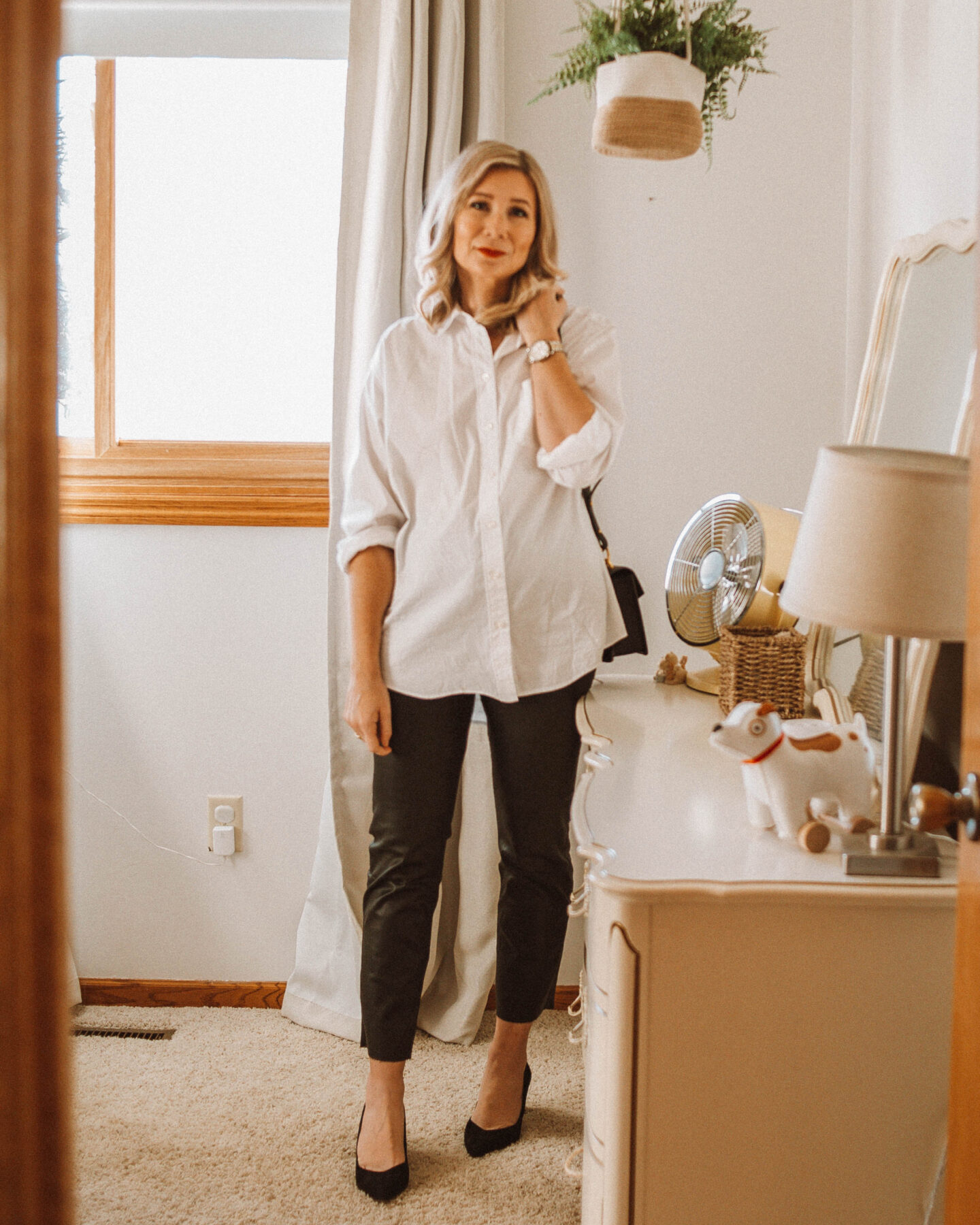 3 Holiday Looks with Coated Jeans, White Button Down, Black Kitten Heel