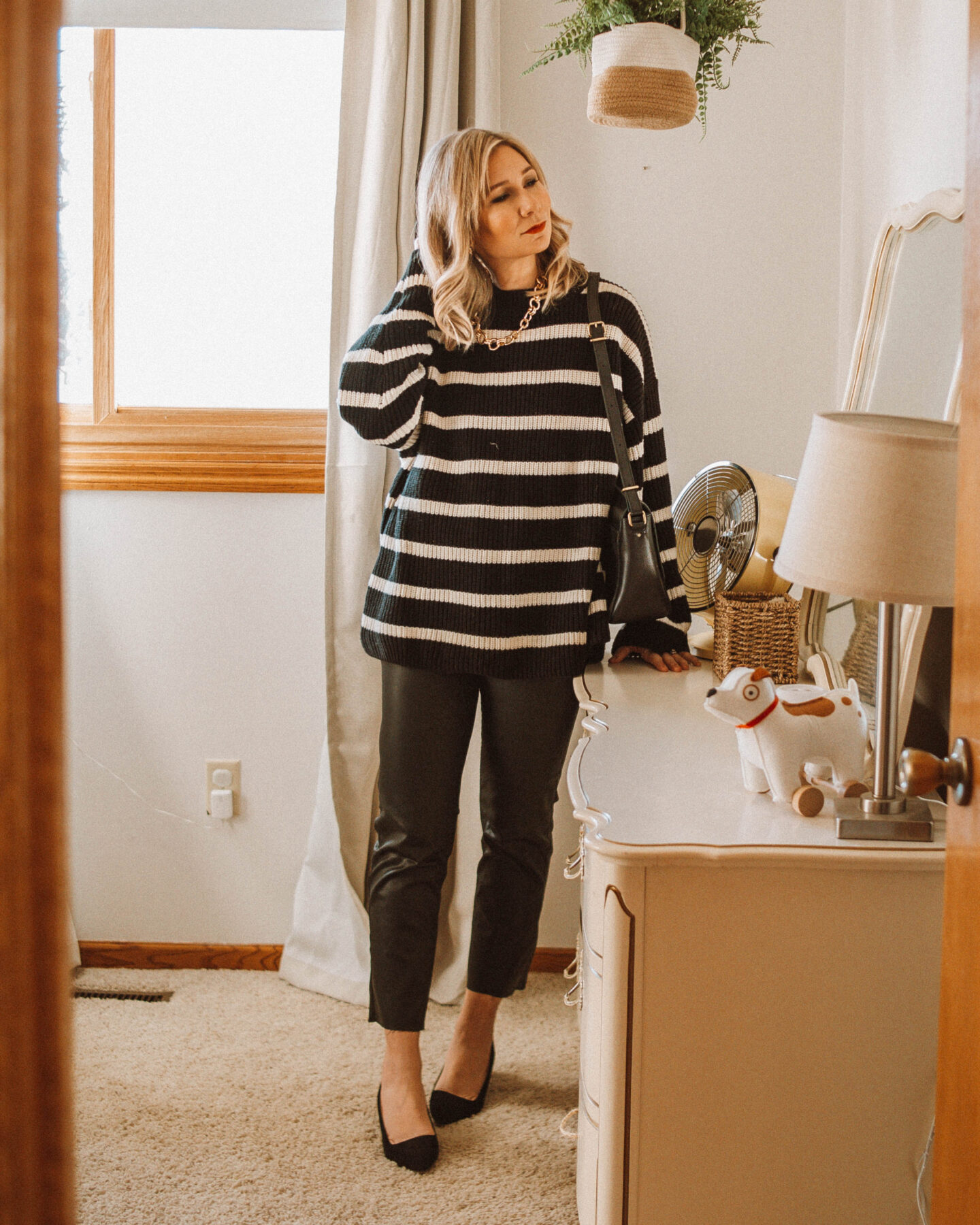 3 Holiday Looks with Coated Jeans, Striped Sweater, Breton Stripes, Black Kitten Heels