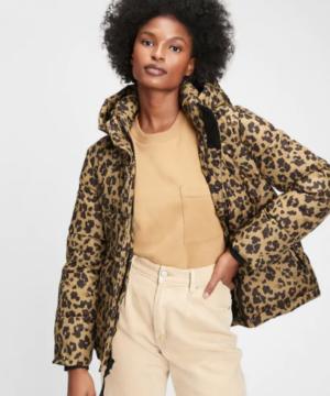 Gap Leopard Print Puffer Coat