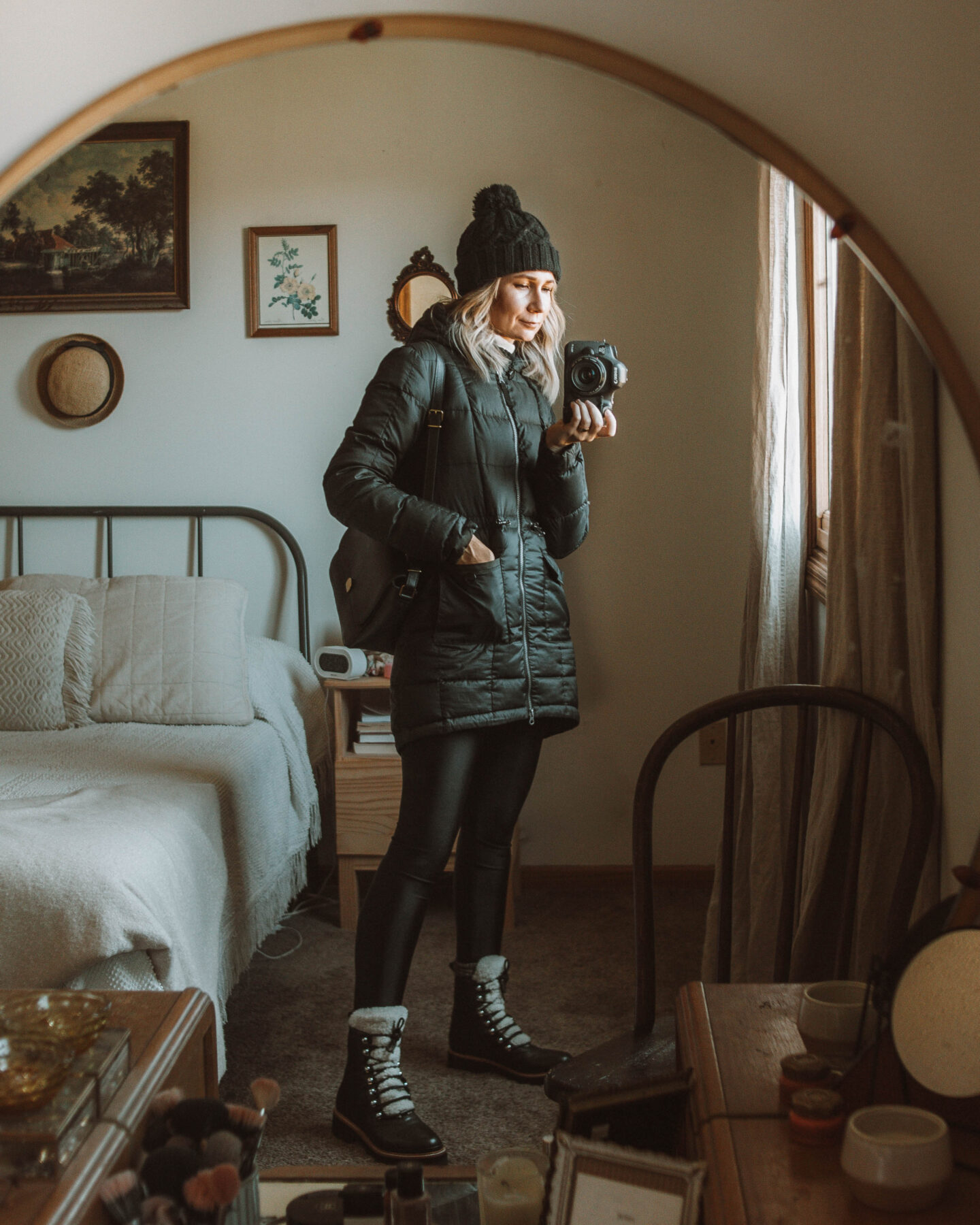 what I wore this week, lots of fleece, marc fisher izzie sherpa boots, black puffer coat, black pom hat