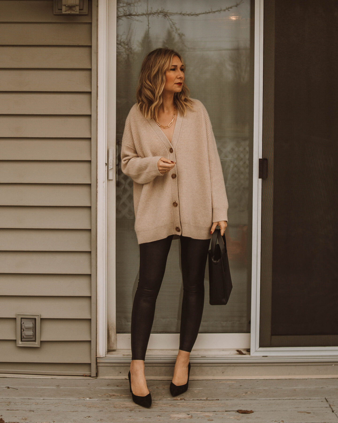 New Years Eve Outfits Feat. Faux Leather Leggings, jenni kayne cashmere cocoon cardigan, spanx faux leather leggings, black suede heels