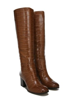 Franco Sarto Croc Embossed Knee High Boots