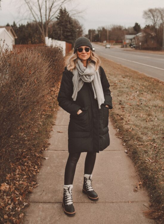 Karin Emily Style | Black Puffer Coat, Everlane Renew Coat, Faux Leather Leggings, Marc Fisher Sherpa Boots, Cashmere Scarf