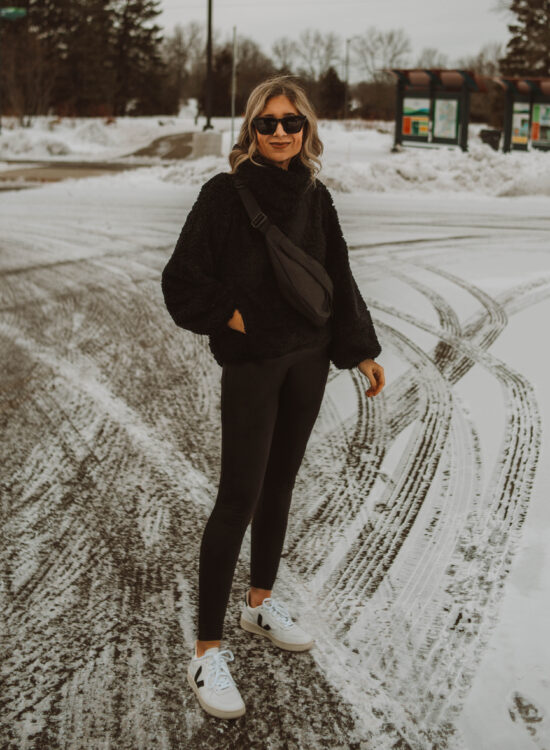 what i wore this week, sherpa pullover, leather leggings, spanx, veja v10 sneakers