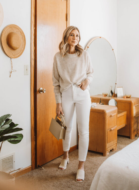 oatmeal sweater, white skinny jeans, nude heeled mules