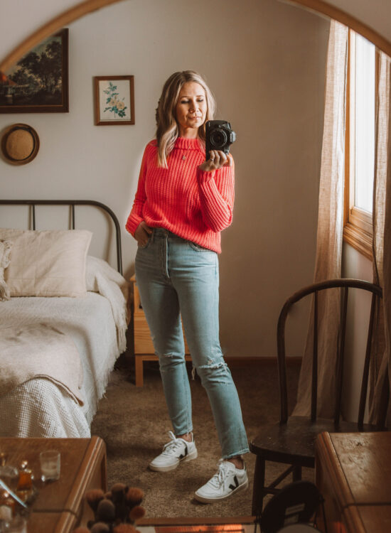pink sweater, valentines day outfit, agolde jeans, veja v-10 sneakers